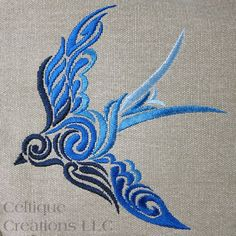 Celtic Spiral Bird Messenger Bag Khaki Cotton Canvas Blue Ombre Swirl