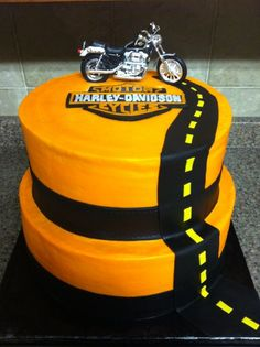 Birthday Cakes for Adults - Creme de la Creme Cakery Homemade Birthday Cakes, Adult Birthday Cakes, Birthday Cake Ideas For Adults Men, Guy Birthday, Cake Icing, Fondant Cakes, Retirement Cakes, Retirement Parties, Harley Davidson Cake
