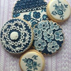 Blue and whie flower lace painted cookies