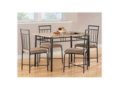 Table And Chairs 5 Piece Kitchen Dining Set Home Furniture Wood Metal Modern NEW #Mainst #Modern
