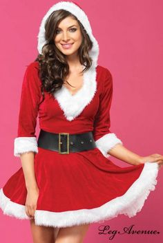 Mrs Claus Hooded Dress Costume for Sexy Santa Roleplay Costumes, Christmas Party Fancy Dress and Festive Dress Up Outfits by Leg Avenue, available for next day delivery in the UK. Mrs Santa Claus Costume, Mrs Claus Dress, Red Costume, Costume Dress, Leg Avenue Costumes, Christmas Lingerie, Christmas Clothing, Hooded Dress, Festival Dress