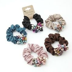 Details about Handmade Sleek Color Ball Flower Elastic Band Ponytail Holder Scrunchies Diy Hair Scrunchies, Diy Hair Bows, Handmade Hair Accessories, Hair Accessories For Women, Headband Hairstyles, Diy Hairstyles, Hair Claw, Ponytail Holders, Hair Jewelry