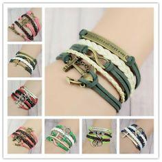 Nouvelle main 2013 infinity d'ancrage. gouvernail pendentif argent bricolage. ib460-ib472 bracelet bleu et blanc