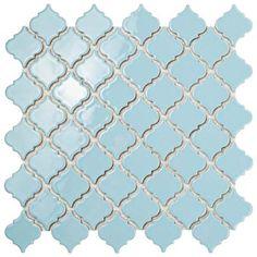 Merola Tile Hudson Tangier Cashmere Blue in. x 5 mm Porcelain Mosaic Tile, Cashmere Blue/High Sheen Mosaic Wall, Mosaic Tiles, Wall Tiles, Powder Blue Color, Lantern Designs, Blue Color Schemes, Mosaic Patterns, Stone Tiles, Arabesque