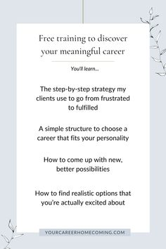 If you're feeling stagnant in your career, this free masterclass is going to help you out because you'll learn how to find the right career for you. A career that is a natural extension of who you are, and one that aligns with your soul. - coaching ideas - how to find a job - how to find the right career for you Finding The Right Career, Find A Career, Choosing A Career, Career Change, Find Work, Find A Job, Finding Purpose, List Of Jobs, Career Planning