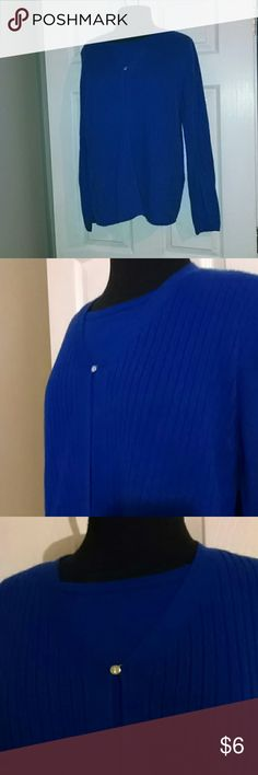 Royal blue sew in cardigan style sweater Sag harbor Very soft bypass button cardigan over shell sew in Sag Harbor Sweaters Crew & Scoop Necks
