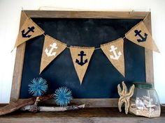 Anchor Burlap Banner Nautical Triangle Burlap Bunting by SweetThymes, $18.99