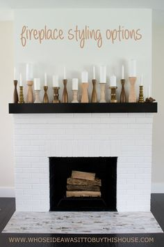 Tons of ideas for styling your fireplace: 1 fireplace 12 ways! :)