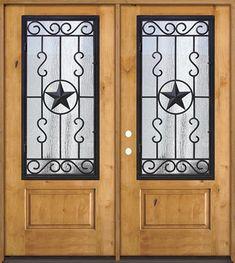 Discount Pre-finished Mahogany Fiberglass Prehung Double Door Unit with Star Iron Grille Wood Entry Doors, Wood Exterior Door, Door Entryway, Knotty Alder Doors, Cheap Interior Doors, Texas Star, Double Doors, Iron, The Unit