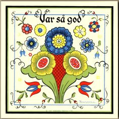 """Var sa God"" trivet tile.  This is a reproduction of a Berggren Trayner trivet tile from the 1960's.  For sale in my eBay store."