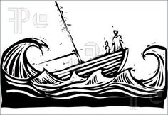 Illustration of Boat with woman and child sinking in the waves