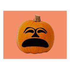 Jack o' Lantern Unhappy Face Halloween Pumpkin Postcard - postcard post card postcards unique diy cyo customize personalize