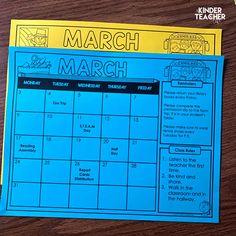 Free Editable Monthly Class Calendars - A Kinderteacher Life Teacher Calendar, Teacher Planner Free, Student Calendar, Classroom Calendar, School Calendar, Kindergarten First Week, Kindergarten Classroom Setup, First Grade Math, Future Classroom
