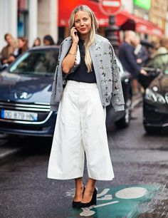 cropped wide leg pants with an embellished bomber