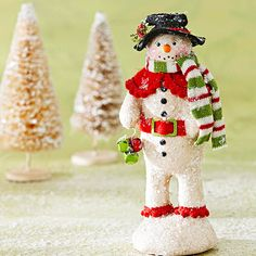 Glittered Clay Snowman - With beautiful details and a quaint, old-fashioned look, this handcrafted masterpiece would fit right into your favorite Christmas story. Make a model from aluminum foil, then cover with air-dry clay and decorate.