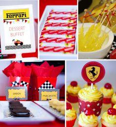 Ferrari Party theme Race Car Birthday, Race Car Party, 7th Birthday, Car Themed Parties, Cars Birthday Parties, Ferrari Party, Combined Birthday Parties, Disney Cars Party, Sleepover Party