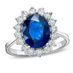 Blue Saphire Engagement Ring  14k White Gold Ring by EJCOLLECTIONS
