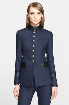 ALTUZARRA Lightweight Military Blazer with Leather Trim available at #Nordstrom
