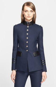 Women's Altuzarra Lightweight Military Blazer with Leather Trim