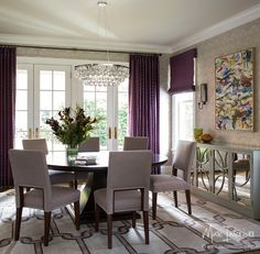 Loving the rich plum drapes and dining setting. Muse Interiors - Portfolio - INTERIORS