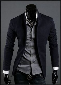 Business casual wear: Korean style 2013 Men's Mandarin Collar Blazer.I love this look. I think it is so hot when a guy takes the time to look nice.