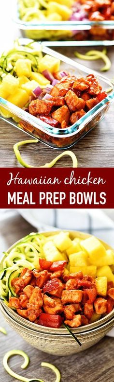I meant to post this recipe yesterday but I havent been feeling too well this week. Today Im feeling much better and am excited to share this deliciousness with you all! I have been making these HAWAIIAN CHICKEN MEAL PREP BOWLS for ab Best Meal Prep, Lunch Meal Prep, Meal Prep Bowls, Meal Prep For The Week, Healthy Meal Prep, Healthy Eating, Healthy Food, Meal Prep Keto, 1200 Calorie Meal Prep