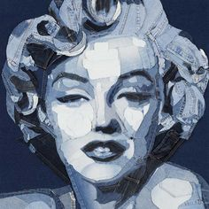 Ian Berry uses discarded jeans to create artwork like this portrait of Marilyn Monroe. Over many weeks he cuts, stitches and glues, using only the varying shades of the fabric to provide contrast and shadow.