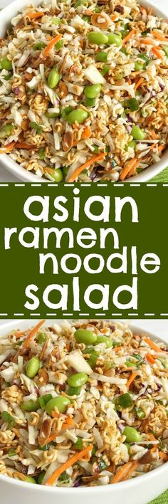 Crisp coleslaw lettuce, toasted golden brown ramen noodles and almonds, green onion, and shelled edamame all drizzled with a delicious seasoned sweet dressing! This asian ramen noodle salad is sure to be a hit | www.togetherasfamily.com