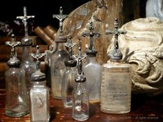 lots of tiny bottles...love that we have soooo many to play with...I can think of lots of stuff to put on top...