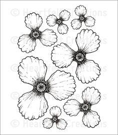 Blazing Poppy Petals Cling Stamp Set