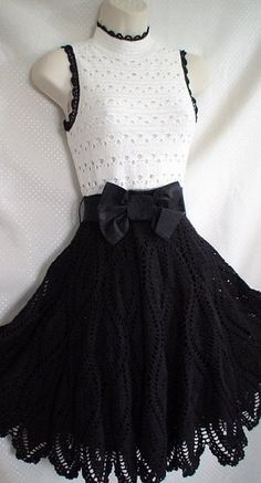 Черно-белое платье крючком. Black & white beauty