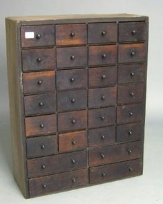 Mahogany and pine apothecary cabinet, 19th c., 33 : Lot 2092