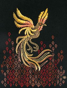 Goldwork Phoenix Hand Embroidery by Tanja Berlin: Berlin Embroidery Designs