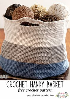 Crochet these striped handle versatile baskets from my 10 best crochet basket free pattern roundup! Crochet Basket Pattern, Crochet Tote, Crochet Flower Patterns, Crochet Designs, Free Crochet, Knit Crochet, Crochet Baskets, Tapestry Crochet, Crochet Ideas