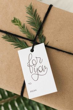 Hand lettered modern calligraphy holiday letterpress gift tags by Paper Sushi Custom Rubber Stamps, 5 Gifts, Modern Calligraphy, Artist At Work, Letterpress, Wedding Designs, Gift Tags, Hand Lettering, Sushi