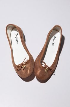 Repetto 'Cendrillon' Metallic Goatskin Suede Ballet Flat available at #Nordstrom