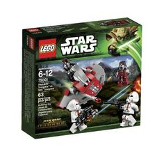 LEGO Star Wars Republic Troopers vs Sith Troopers 75001 (673419191562) Includes 4 minifigures with assorted weapons: 2 Republic troopers and 2 Sithoopers. Features hovering Sith speeder with dual flick missile. Collect the never-before-featured Clone Trooper helmet! Collect the never-before-featured Republic trooper helmet! Weapons include a blaster pistol, blaster, blaster rifle and a heavy gun.
