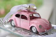 Wedding Ring Bearer Pillow Idea With A Pink Retro Car With A Veil A pink retro car with a veil and rings on top is a whimsy idea for a retro wedding. Ring Bearer Pillows, Ring Pillows, Wedding Pillows, Ring Pillow Wedding, Garter Wedding, Ring Holder Wedding, Wedding Rings, Hair Wedding, Phuket Wedding