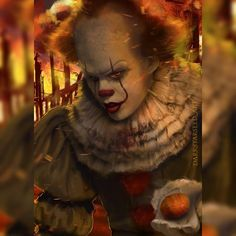 Do you know what's going on in the picture? Joker Clown, Clown Horror, Pennywise The Dancing Clown, Halloween Horror, Horror Films, Horror Art, Stephen King Movies, Stephen Kings, Bill Skarsgard Pennywise