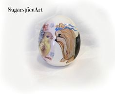 Yorkie Easter Egg Hand Painted Dog Art by SugarspiceArt