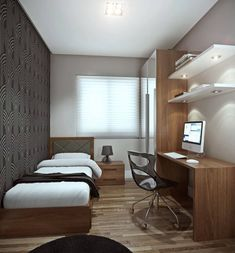 36 Awesome Modern Small Bedroom Design And Decor Ideas Small Bedroom Ideas Awesome Bedroom Decor Design Ideas Modern Small Small Apartment Bedrooms, Apartment Bedroom Decor, Small Rooms, Small Apartments, Small Bedroom Office, Small Bedroom Interior, Student Bedroom, Small Apartment Design, Luxury Apartments