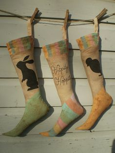 Primitive Vintage Folk Art Easter Stocking by LilyPadPrimitives, $35.00