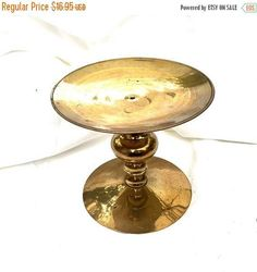 SUMMER SALE Pillar candle holder LARGE Brass  Pillar Candleholder Solid Brass Boho Made in India