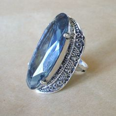 Taxco Mexico MARIA ELENA MUNOZ Sterling Silver & Huge Blue Crystal Ring Size 7 1/2 | eBay