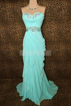 Custom Made Cheap Long Strapless Chiffon Prom Dress, Evening Dress, Formal Dress, Pageant Dress. Looks like princess jasmine to me. I would want this in a darker color so it matches my hair and my eyes Blue Evening Dresses, Prom Dresses Blue, Pageant Dresses, Pretty Dresses, Homecoming Dresses, Evening Gowns, Bridesmaid Dresses, Formal Dresses, Dresses 2014