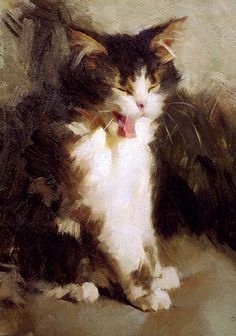"""Susan Lyon - Mina yawning, 1997 // """"A yawning cat is the most relaxing thing in the universe. They ought to be on prescription."""" quote from Kerry Greenwood, Australian author"""