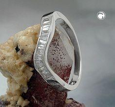 Ring, 10x Zirkonia, rhodiniert, 925  Wellenform, 10x Zirkonia, rhodiniert