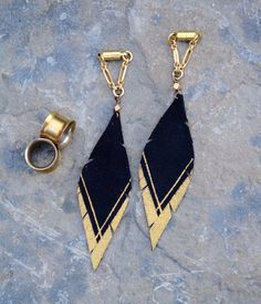 Intrepid Jewelry - Gold and Black Hand Painted Leather Feather Gauged Earrings by BellaDrops, $34.99 (http://www.intrepidjewelry.com/gold-and-black-hand-painted-leather-feather-gauged-earrings-by-belladrops/)