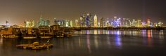 White Heron overlooks Doha at Night, Qatar by Phillip Edwards on 500px