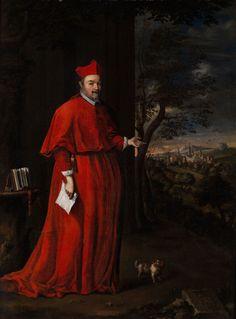 BILDNIS WOHL DES KARDINALS CENCI Öl auf Leinwand. 100 x 45 cm. Der Würdenträger in kardinalrotem langem Kleid mit Birett, vor dem dunklen Hintergrund eines...
